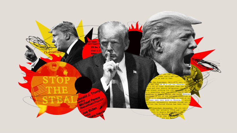Image: A collage of Donald Trump and quote bubbles with images of election protests, Ukraine documents, and Covid spores.