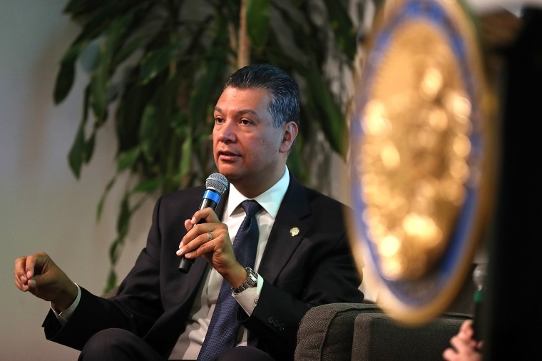 Alex Padilla, California's secretary of state, speaks in San Francisco in 2018.