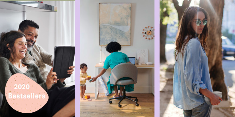Illustration of couple looking at iPad, mom working at her desk and girl holding a self sanitizing bag