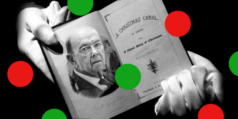Image: A hand holding an open copy of 'The Christmas Carol' with a photo of Wilbur Ross on the page.