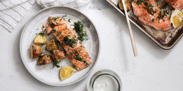 This Weeknight Salmon with Baby New Potatoes and Fresh Dill from Joanna Gaines is picky-eater approved.