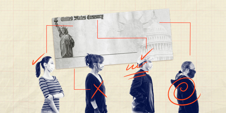 Photo illustration of people in line with a stimulus check on top of them.