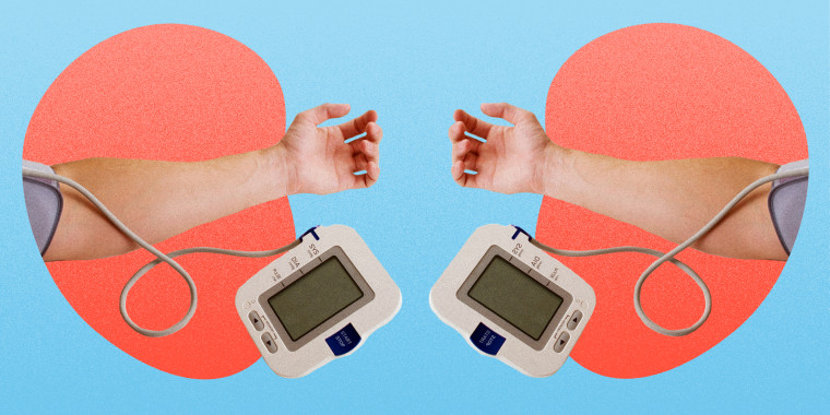 Photo illustration of blood pressure monitor. Difference in blood pressure between arms linked to greater risk of death?