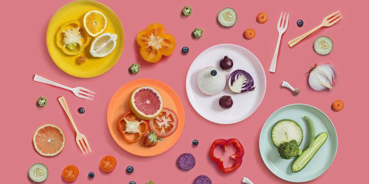 Colourful vegan food eating conceptual still life.