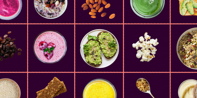 Photo illustration of foods like almonds, avocado toast, raising and smoothies over a flat color grid.