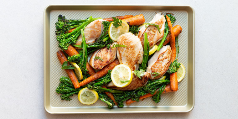 One-Pan Chicken, Broccolini and Carrots