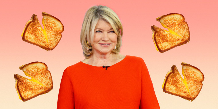 Illustration of Martha Stewart with grilled cheese sandwiches floating around her.