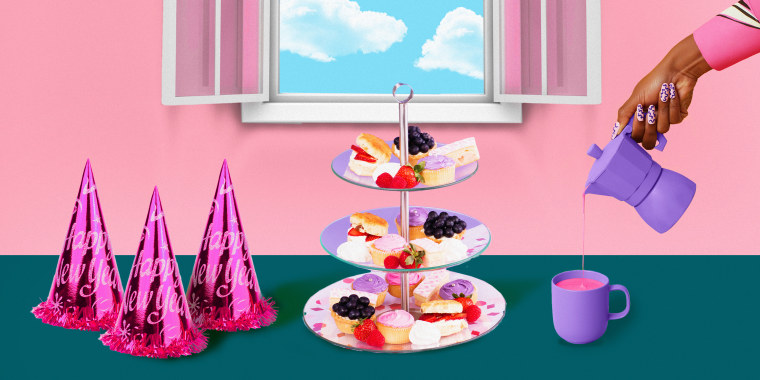 Photo illustration of a hand pouring tea next to some muffins and new years' hats