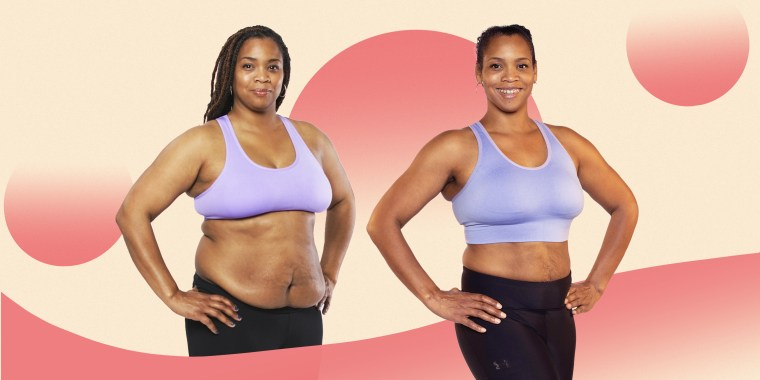 """Collage of woman standing in workout clothes in her """"before"""" and """"after"""" photo."""