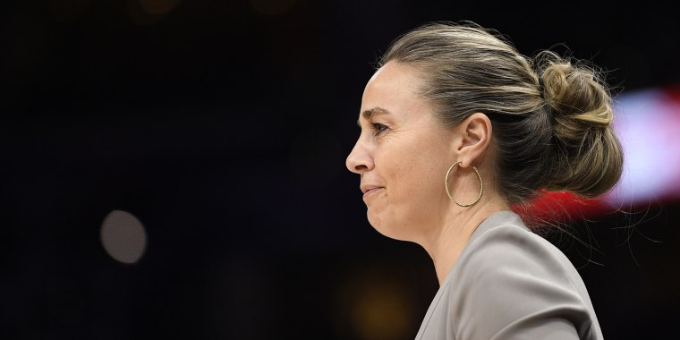 San Antonio Spurs head assistant coach Becky Hammon watches during the second half of an NBA basketball game against the Washington Wizards