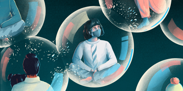 Illustrations of bubbles bursting with people inside