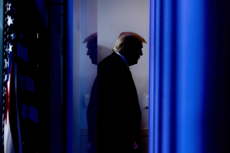 Image: President Donald Trump departs after speaking during the daily briefing on the novel coronavirus in the Brady Briefing Room of the White House.