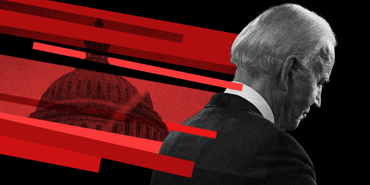 Photo illustration of Joe Biden looking away on a black background while red lines with an overlay of the Capitol building come in from the top left.