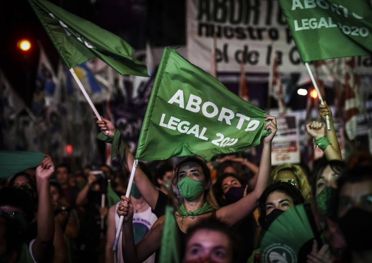 Image: Pro-choice demonstrators wait for the result of vote on Dec. 30, 2020 in Buenos Aires, Argentina.