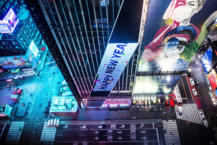 Image: An empty street is seen in Times Square during the virtual New Year's Eve event following the outbreak of the coronavirus disease (COVID-19) in the Manhattan borough of New York City