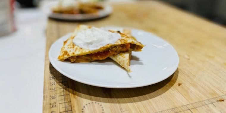 Dylan Dreyer's Turkey and Veggie Quesadillas