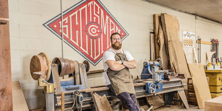 As seen on Home Town, Ben Napier poses in his.workshop located in Laurel, MS.