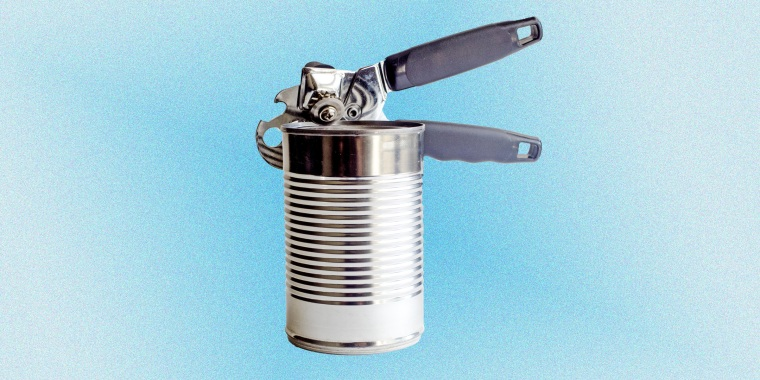 Aluminum Can And Opener Against White Background