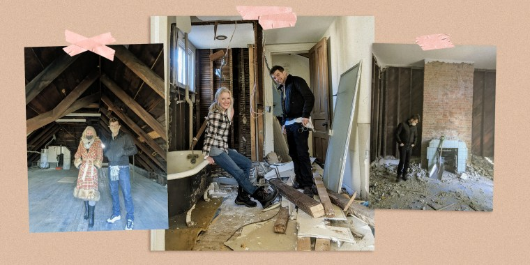 Collage of photos of couple in house being renovated
