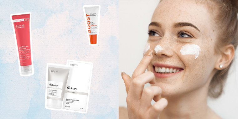 Illustration of 4 skincare products and women rubbing lotion on her face