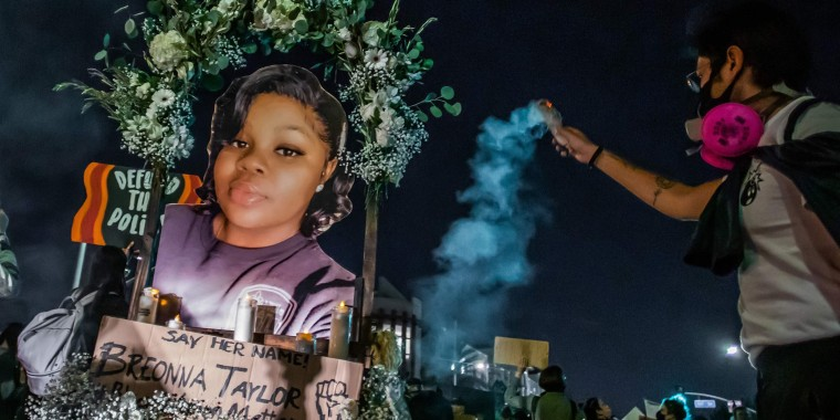 Protesters march against police brutality in Los Angeles, on Sept. 23, 2020, following a decision on the Breonna Taylor case in Louisville, Ky.