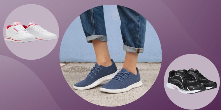 Illustration of Reebok, Ryka and Brooks walking shoes