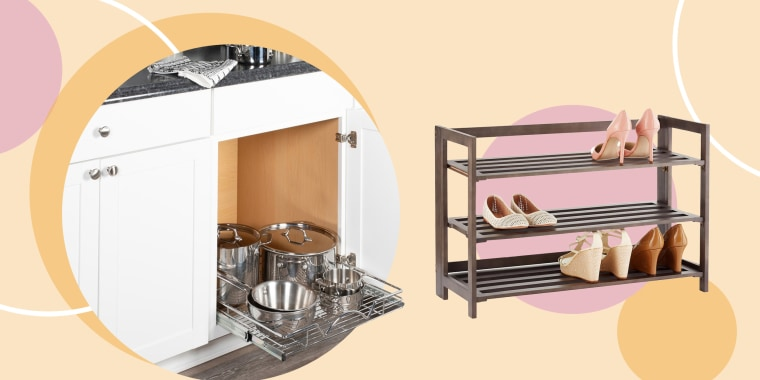 Illustration of drawers with pots and shoe rack