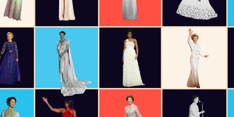 Photo illustration featuring First Ladies from different time periods in their gowns