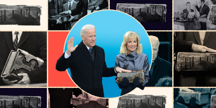 Collage of Biden being sworn in with his big Bible