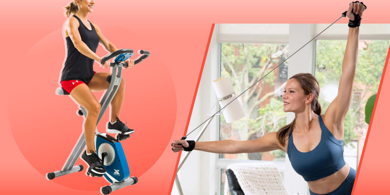 Illustration of woman on indoor cycling bike and women using a home exercise tool