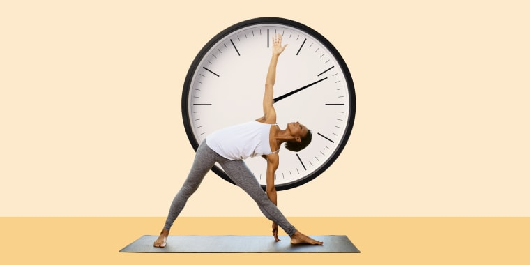 Collage of woman working out with a clock in her background