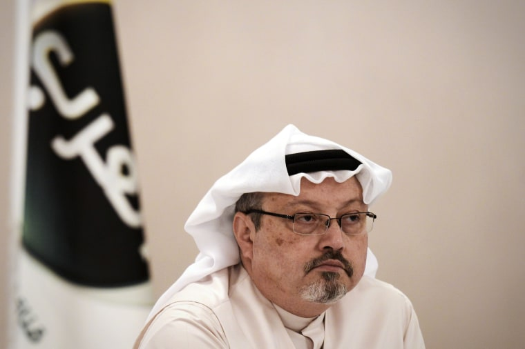 Image: Jamal Khashoggi looks on during a press conference in the Bahraini capital Manama.