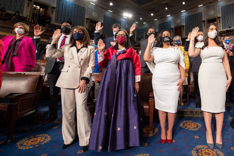 Rep. Marilyn Strickland, D-Wash., wears a hanbok, a traditional Korean dress, during her swearing-in ceremony Sunday in Washington, D.C.