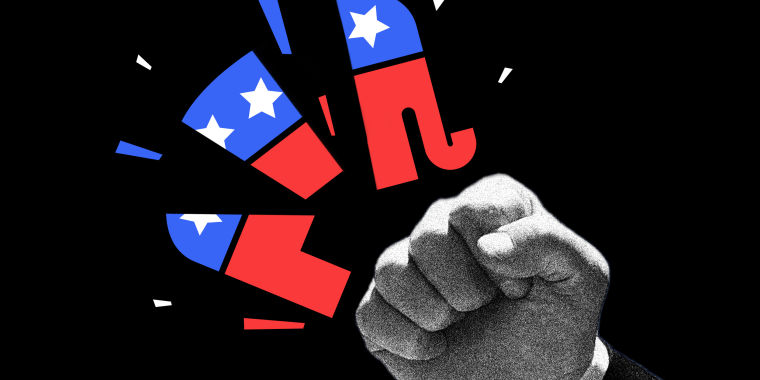 Photo illustration of Donald Trump's fist shattering the GOP symbol