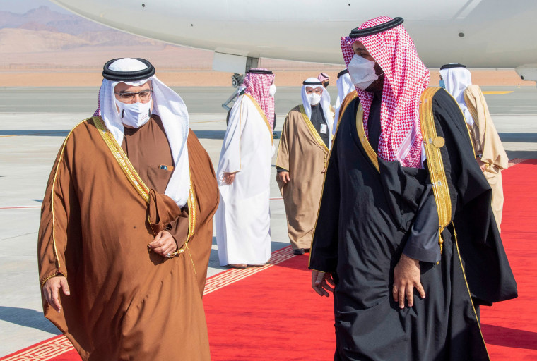 Image: Crown Prince Mohammed bin Salman (R) welcoming Bahrain's King Hamad bin Isa Al-Khalifa upon his arrival in the city of al-Ula in northwestern Saudi Arabia for the 41st Gulf Cooperation Council