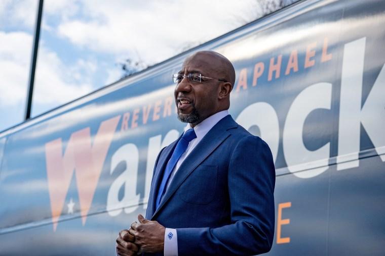 Image: Georgia Democratic Senate Candidate Raphael Warnock Campaigns On Election Day