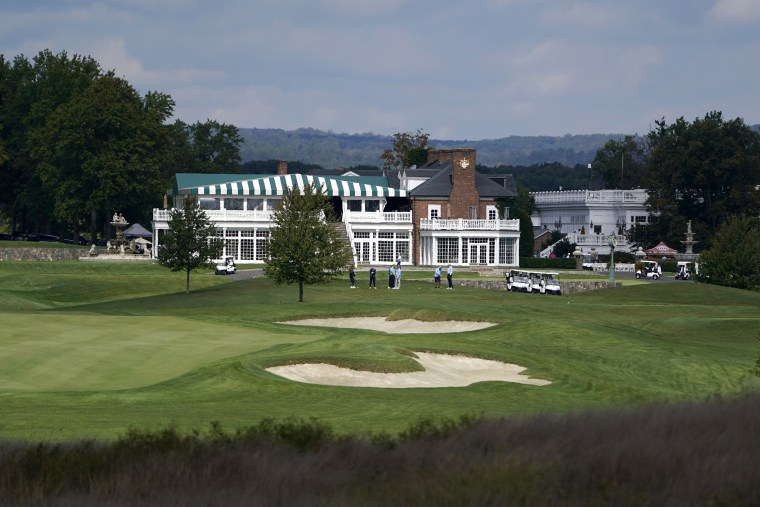 Golfers play at Trump National Golf Club in Bedminster, N.J., on Oct. 2.