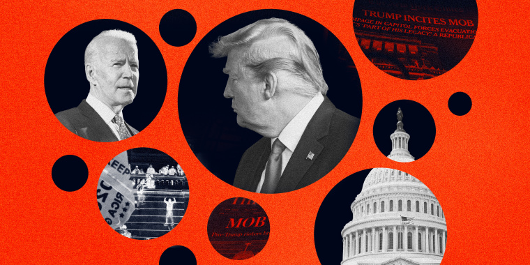 Image: Navy circles show scenes from the mob at the Capitol, Joe Biden, Donald Trump and newspaper headlines.