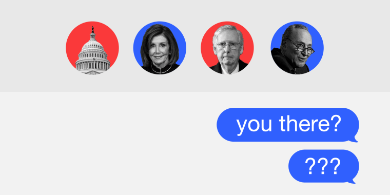 """Photo illustration of a group chat window with members Nancy Pelosi, Mitch McConnell, Chuck Schumer and an icon of the Capitol. The text messages read,""""Your there?"""" and """"???"""""""