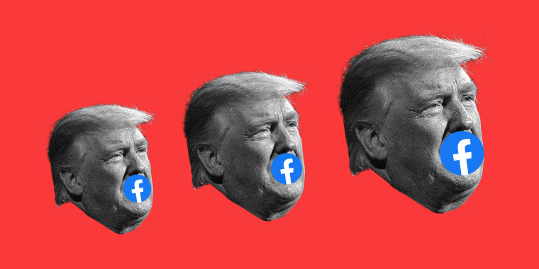Photo illustration with three faces of Donald Trump increasing in size against a red background. A facebook logo covers his mouth.