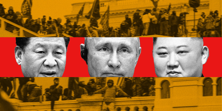 Photo illustration showing protestors storming the U.S. Capitol in the background with a red strip in the middle that has the faces of Xi Jinping, Vladimir Putin and Kim Jong Un.