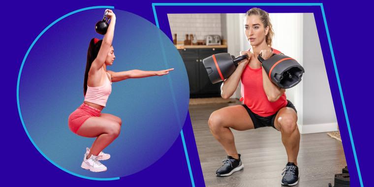 Illustration of a girl lifting a kettlebell and a woman lifting Bowflex kettlebell