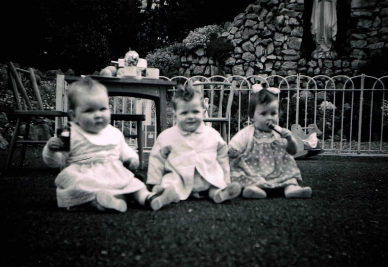 Mari Steed, far right, with two friends at Bessborough Mother and Baby Home, circa April 1961.