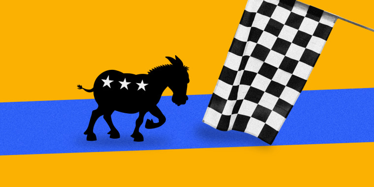Photo illustration of a black and white checkered flag being waved at a donkey with three stars ready to race on a blue track against a yellow background.
