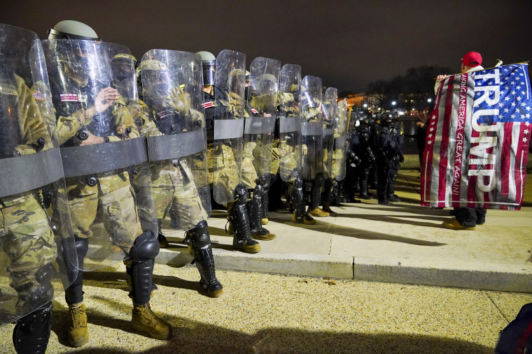 Members of the DC National Guard are deployed outside of the Capitol on Jan. 6, 2021.