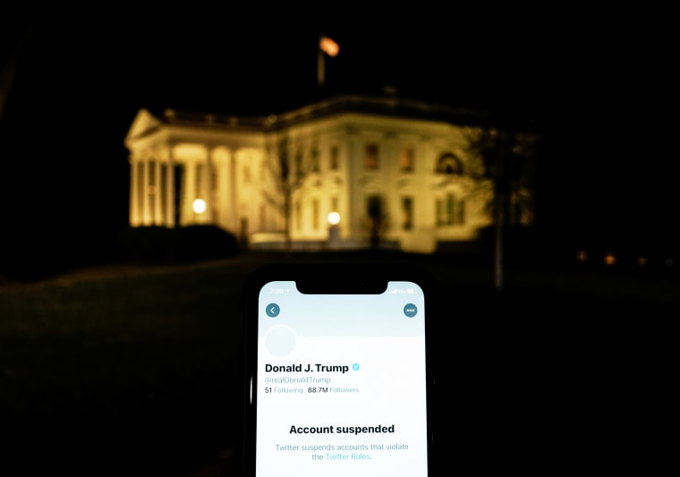 Image: A photo illustration shows the suspended Twitter account of U.S. President Donald Trump on a smartphone and the White House in Washington