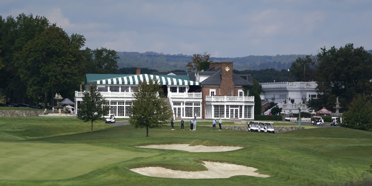 Golfers play golf at Trump National Golf Club in Bedminster, N.J., on Oct. 2, 2020. The PGA of America, which has some 29,000 golf professionals who mostly teach the game, signed the deal with Trump National in 2014.