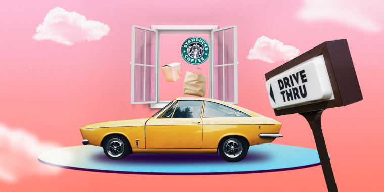 Illustration of a car floating in front of a drive thru window
