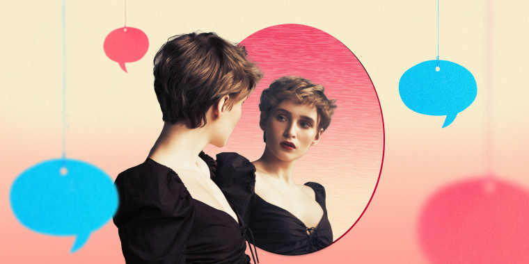 Illustration of woman looking in the mirror with speech bubbles hanging around