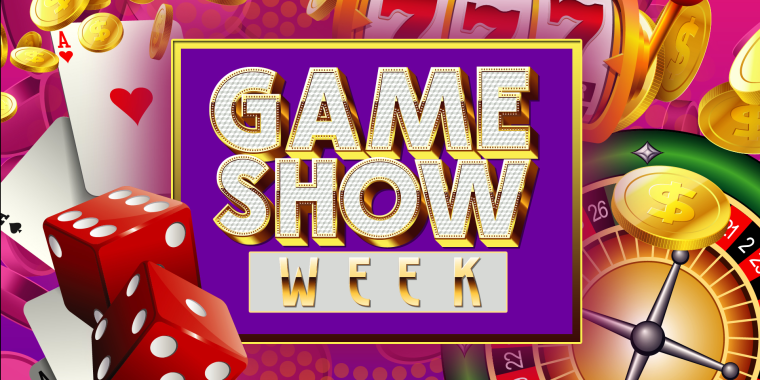 """Illustration of game items and board that reads """"GAME SHOW WEEK"""""""